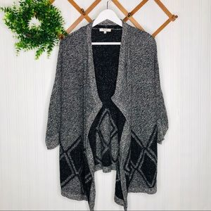 Madewell diamond gray with black open sweater size Small